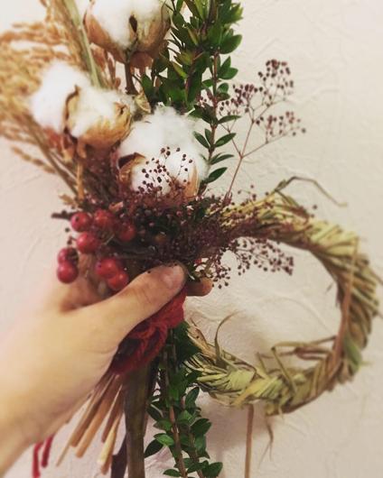 稲穂とハーブのしめなわ ワークショップ 小野装花店